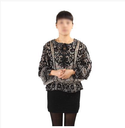 中老年女装大码 定位度珠片真丝绒长袖上衣 女春秋装 正品3201