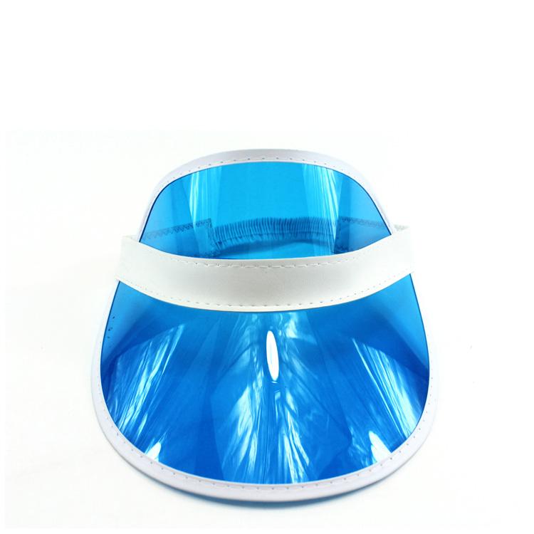外贸出口塑料空顶帽 男女士防晒PVC胶片帽 定制丝印logo广告帽