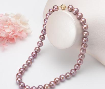 供应 高品质14K金11-12mm正圆强光妖紫色四色可选淡水珍珠项链
