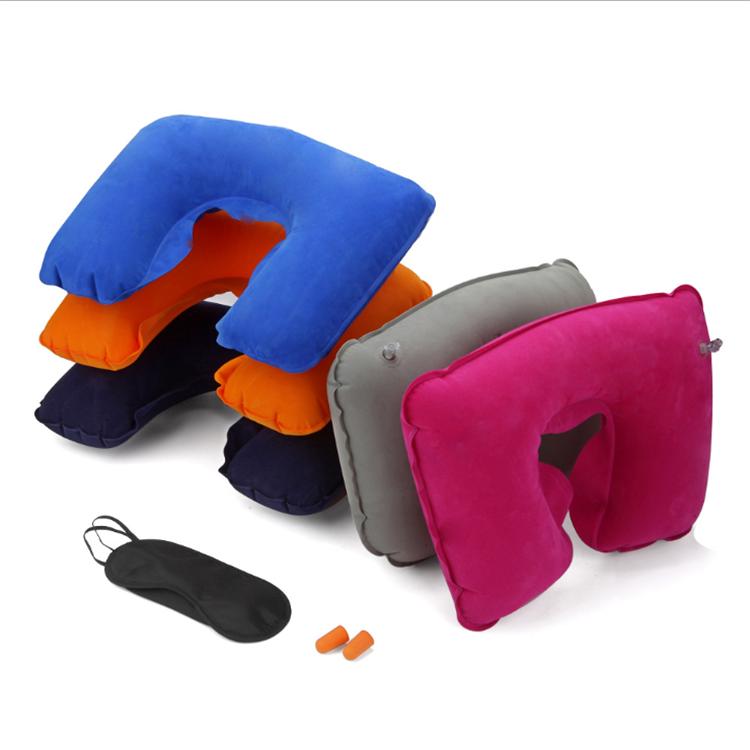 环保pvc植绒旅游三宝赠品 户外运动休闲U形枕 充气方型枕头
