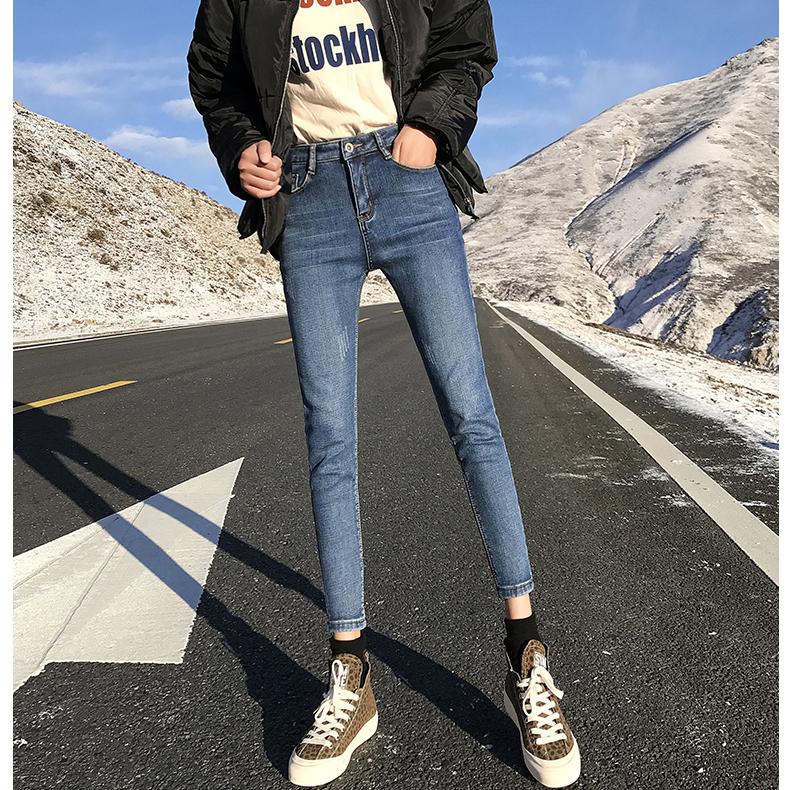 美丽啪加绒牛仔裤女小脚裤免费试用