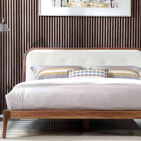 北欧床黑胡桃木床黑胡桃木家具实木床1.5米双人床真皮床