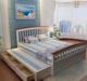 美式地中海实木床1.5单人床1.8双人床带拖床抽屉储物高箱床松木