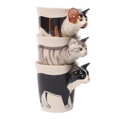 供应 手绘3D立体动物马克杯陶瓷咖啡杯