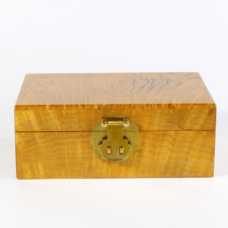 忠兴工艺品红木工艺品金丝楠木对纹首饰盒