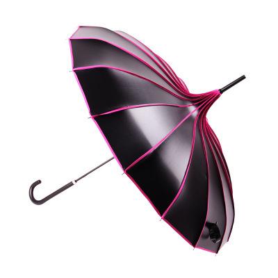 宝塔长柄雨伞黑胶晴雨伞防晒防紫外线遮阳伞女士创意异域太阳伞