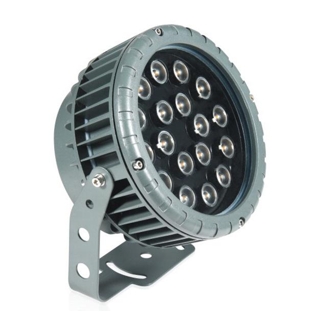 厂家供应LED投光灯 车轮款七彩投光灯12w24w园林照树灯 建筑外墙射灯