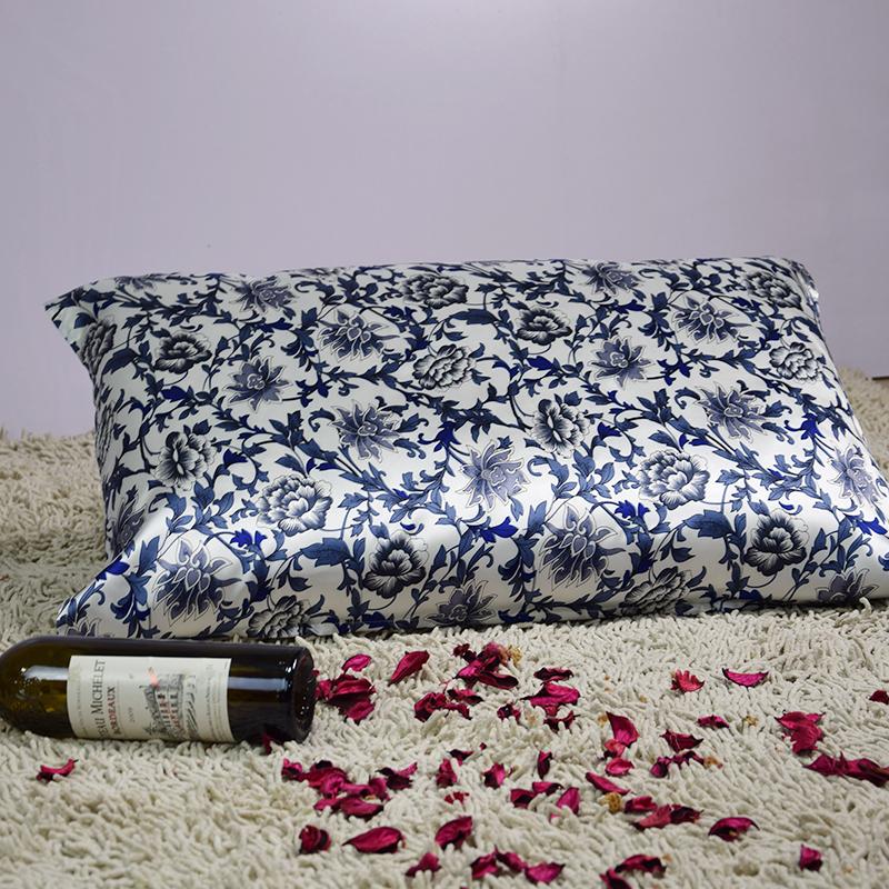 【依格尔】真丝枕巾枕套 100%桑蚕丝绸系带款 单面单只枕头套 四季单人枕芯套