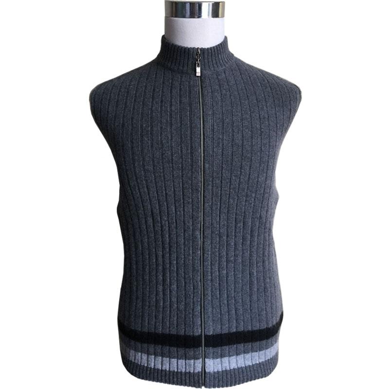 男装 男士针织衫毛衣 新款秋冬季羊绒衫高领条纹羊毛衫拉链毛衣开衫针织衫超大码男中长