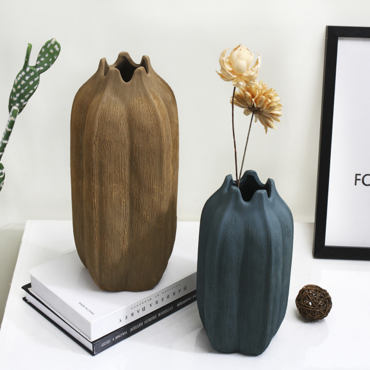 供应 新款北欧创意拉丝花瓶大小号 家居软装摆件 手工陶瓷插花花器
