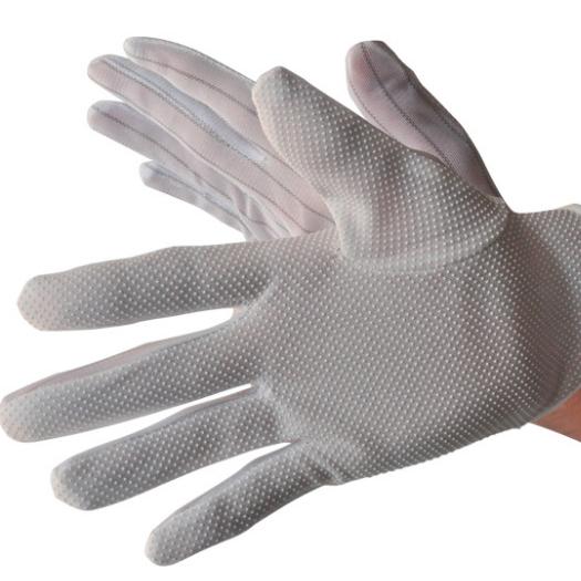 厂家直销防静电防滑作业点胶手套 条纹加厚点塑手套特价批发