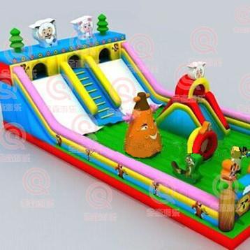 室外充气城堡滑梯 新款充气跳跳床 气垫床玩具