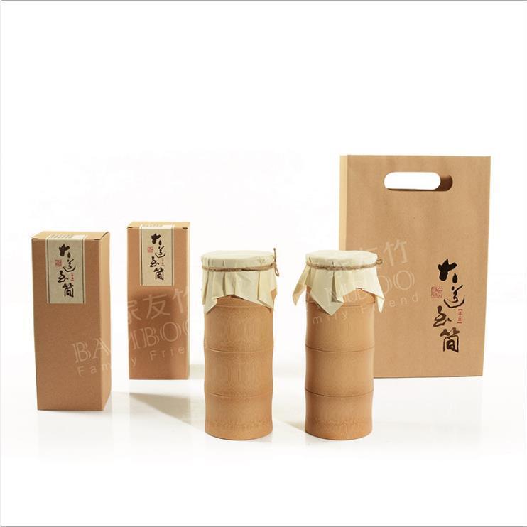 供应 大道至简C双个装 家友竹茶叶包装礼盒环保竹筒罐