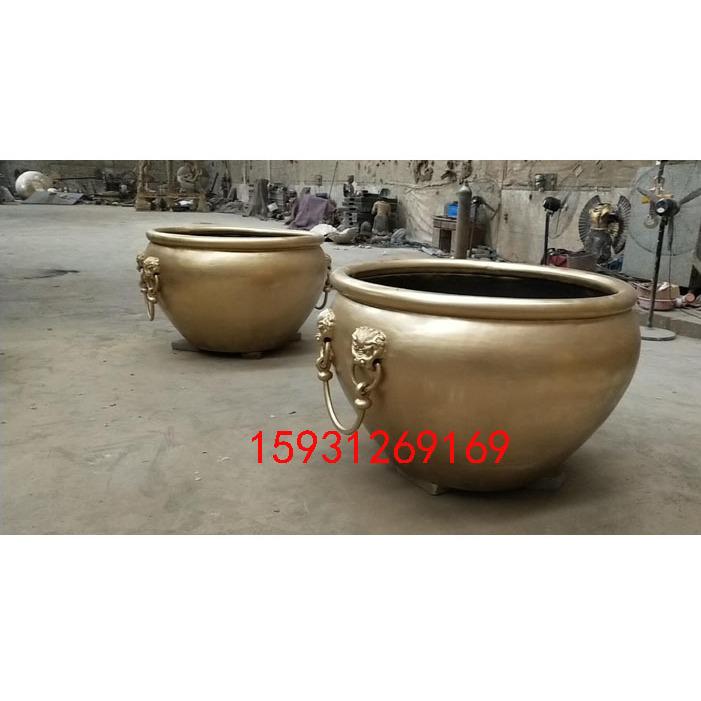 纯铜无耳铜缸 厂家定制大小型水缸 景观铜雕工艺品摆件