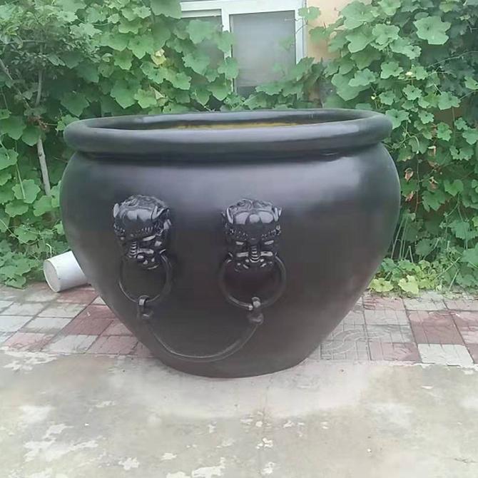 小型狮子头带耳铜缸 厂家定制大型鱼缸 仿古铜佛像雕塑摆件