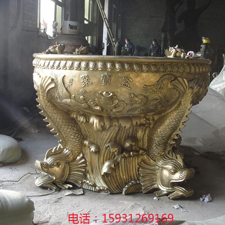 纯铜聚宝盆铜缸 厂家定做铸铜水缸 招财雕塑摆件