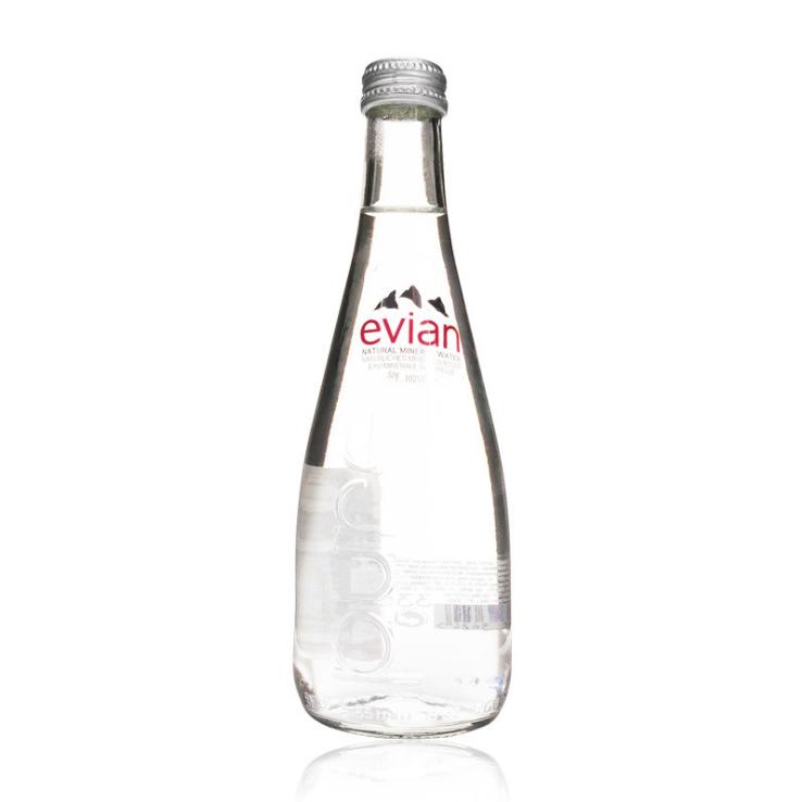 供应 依云水330ml 法国进口evian 依云矿泉水20支整箱 玻璃瓶装