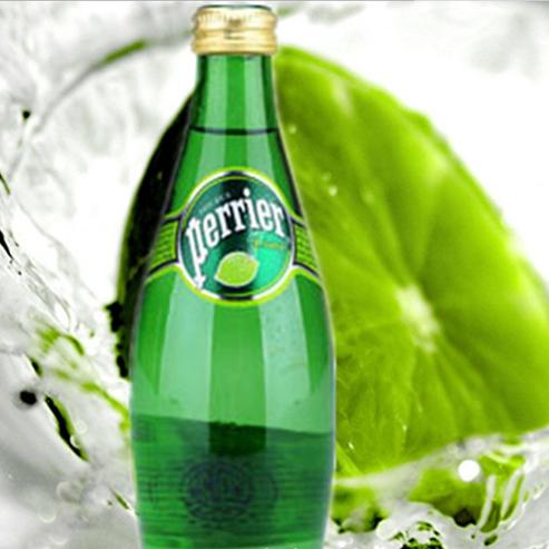 供应 法国进口 perrier 巴黎水 330ml 青柠味天然矿泉水 24瓶整箱 现货