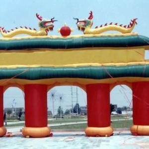 吉尼斯气模厂直销 大型双龙城堡充气拱门 新款充气彩虹门 质保三年