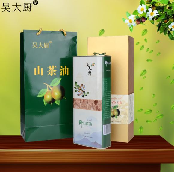 礼盒包装吴大厨山茶油1.6l食用油野茶籽油孕妇宝宝月子油长寿油
