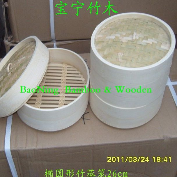 椭圆形竹蒸笼28cm