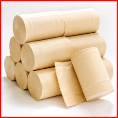 厂家直销竹浆本色纸卷纸无芯卫生纸家用厕纸手纸4层32卷整箱批发