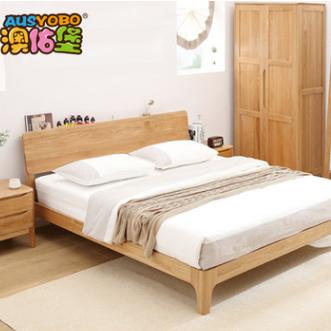 供应 白橡木实木双人床 欧式简约1.5 1.8米实木床 环保卧室家具