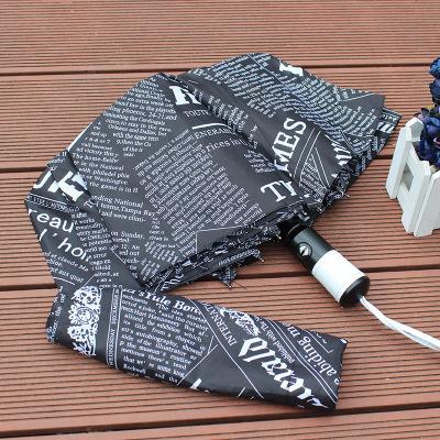 自动开自动收高端订制伞休闲男士晴雨伞个性女生折叠伞英文报纸伞
