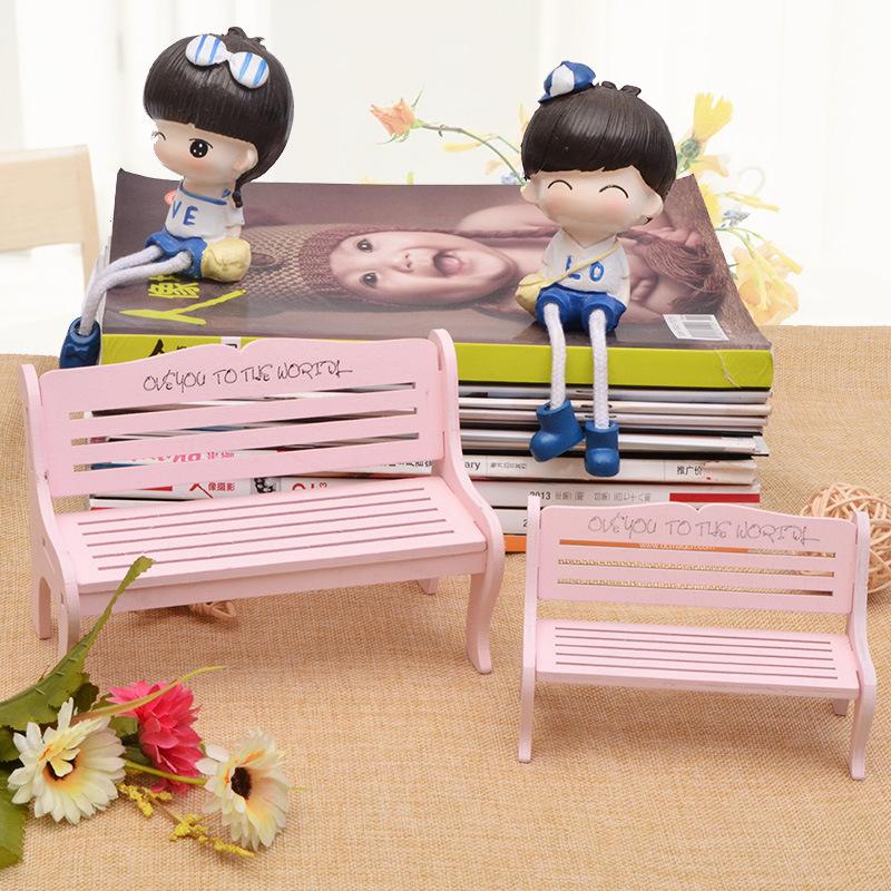 工艺品 雕刻少女心粉色椅子拍照摄影道具装饰品创意长椅摆件