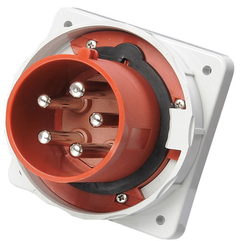 工业暗装插头QX1983启星5芯125A防护IP67固定墙面插头