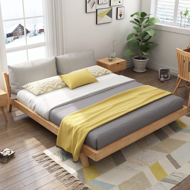 北欧日式全实木床简约双人床U4J072