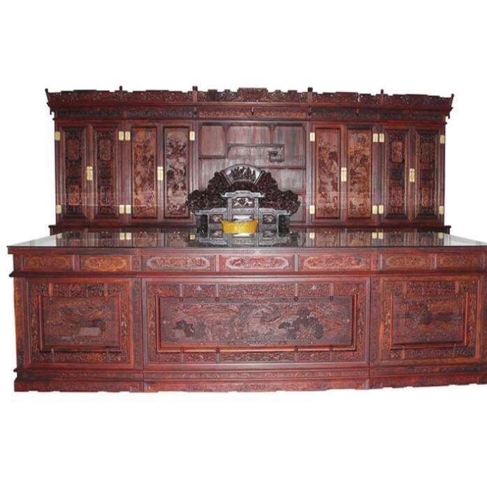 供应 收藏精品 红木家具 微凹黄檀5件套4.1米办公台