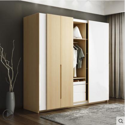 供应 北欧现代烤漆简易推拉门板式组合衣柜组装整体衣柜2门3门4门衣橱