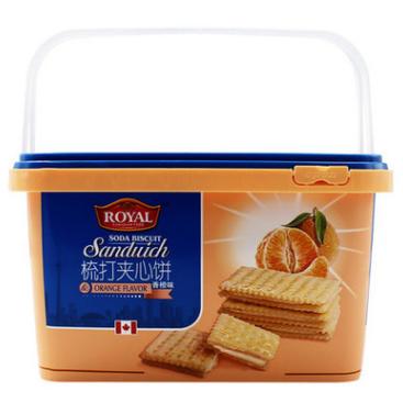 供应 700g夹心苏打香橙味小吃零食厂家整箱批发