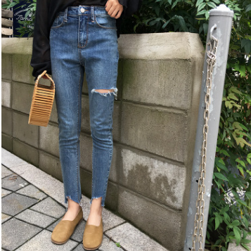 供应2018百搭修身显瘦牛仔裤高腰拉链紧身裤