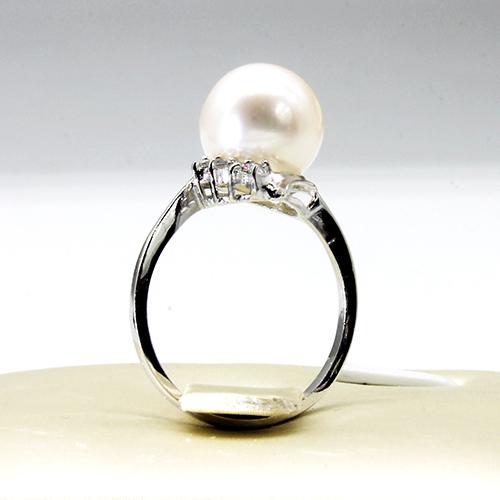 美尚珍珠 9-10mm正圆强光淡水珍珠戒指 配925银托 时尚大方 下单备注手寸