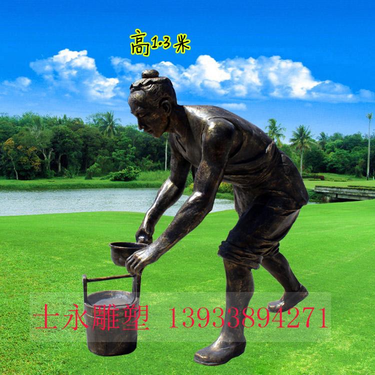 玻璃钢劳动人民雕塑生态园景区公园树脂树脂摆件浇水刨地推车除草雕塑
