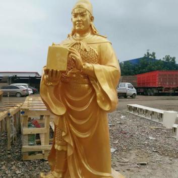 厂家直销玻璃钢铜雕春秋关公铜雕彩绘定制加工历史人物铜雕塑
