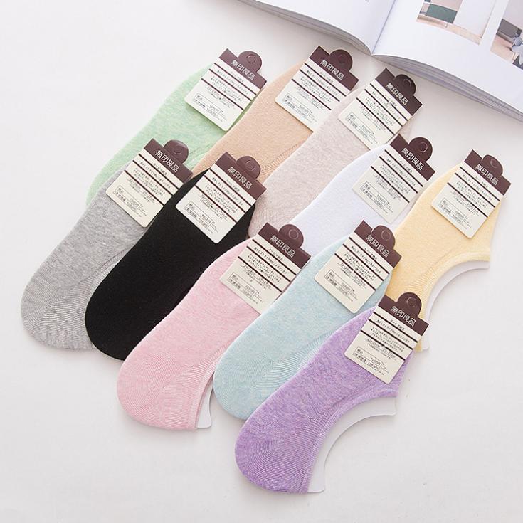 供应 新款 时尚百搭纯色女袜 夏季硅胶防滑隐形船袜
