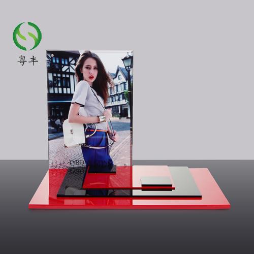 供应彩色印刷亚克力制品展示架 护肤品有玻璃陈列架定制生产