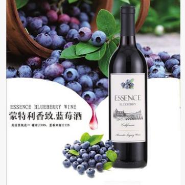供应 原瓶进口红酒美国加州蒙特利香致蓝莓葡萄酒果酒配制酒750ml
