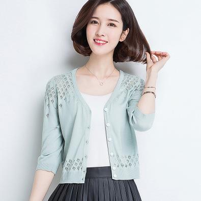 供应 冰丝防晒开衫女夏薄短款短袖针织衫外套镂空小披肩百搭外搭外披