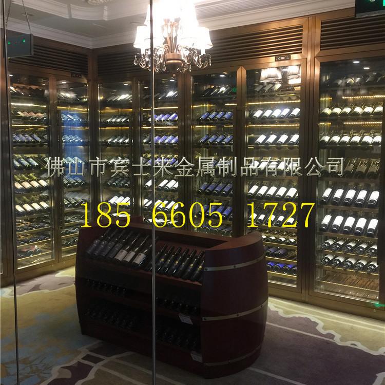 北京不锈钢恒温酒柜 酒窖酒柜 玫瑰金酒柜 专业厂家定做
