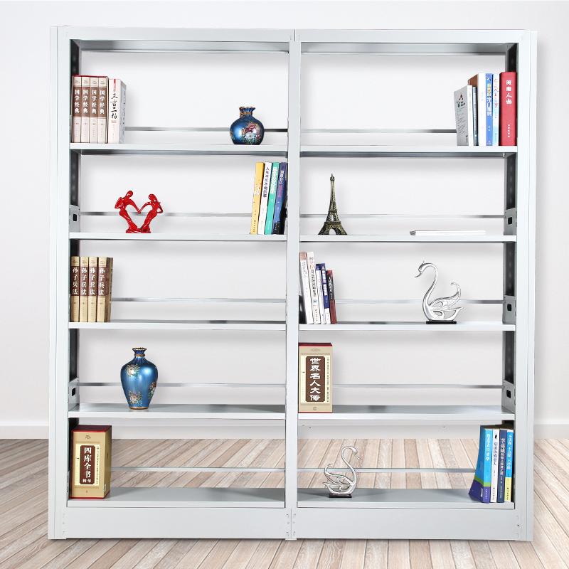 钢制铁皮书架学校图书馆阅览室单面双面书店书籍室书架资料展示架