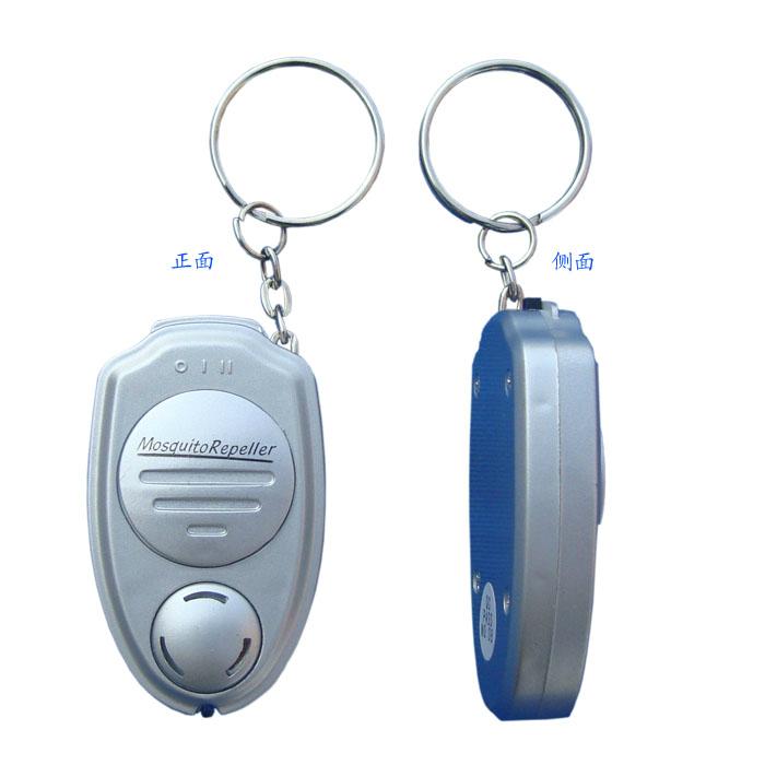 喷油银色便携迷你婴儿创意匙扣式超声波电子驱蚊器吸卡装