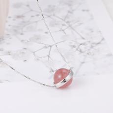 供应 银项饰韩版森系甜美草莓晶项链女气质圆形锁骨链