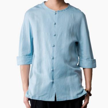 中国风新款男士中袖衬衫亚麻唐装男式衬衣秋季休闲装
