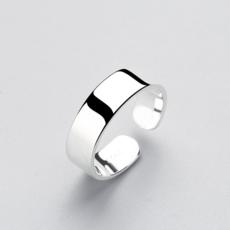 供应 s925纯银手饰女款简约大方圆形光面开口戒指