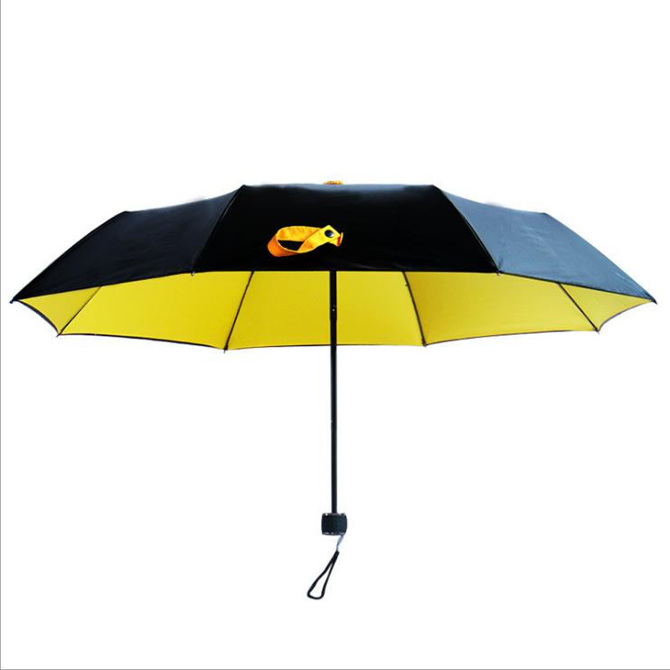 供应 双层防晒小黑太阳伞 男女折叠晴雨伞 防紫外线黑胶遮阳伞