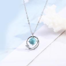 供应 原创设计blue蓝色星球925纯银女锁骨链蓝琉璃少女梦幻项链